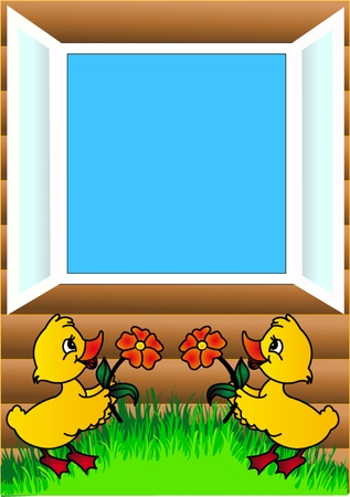 windows frame: illustration duckling flowers and open window  Illustration