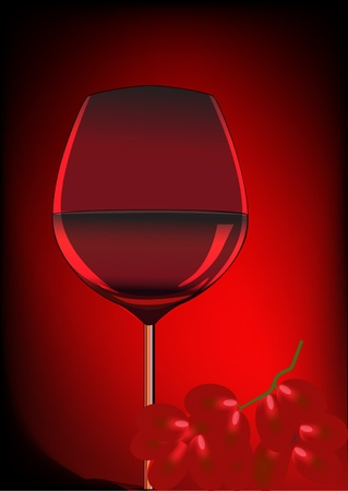 illustration goblet blame and branch of grape  Vector