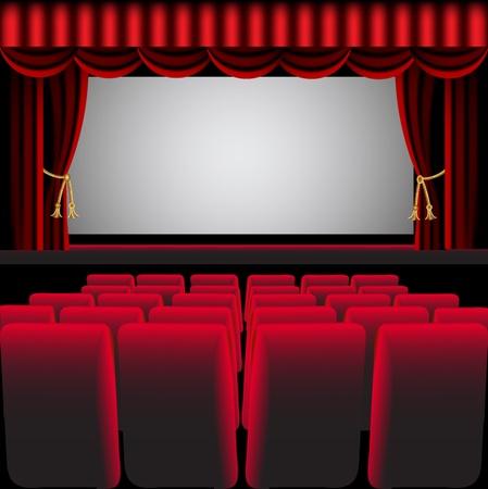 theatre: Abbildung Kinosaal mit roten Vorhang und Sessel Illustration