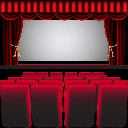 music production: illustration cinema hall with red curtain and easy chair