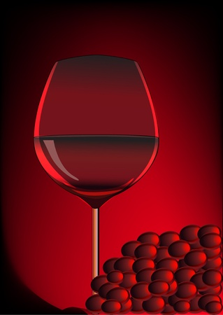 illustration goblet red blame and branch of grape  Vector