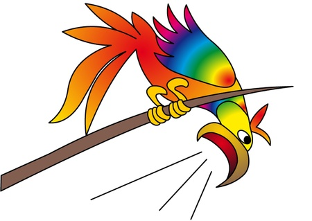 openly: the bright parrot yells with tree is insulated on white.  Illustration