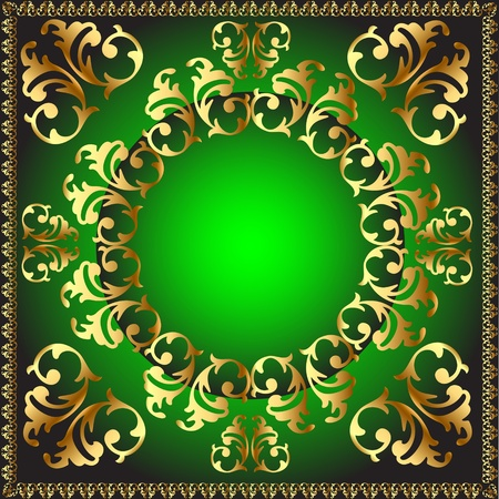 illustration gold(en) round frame with vegetable pattern Vector
