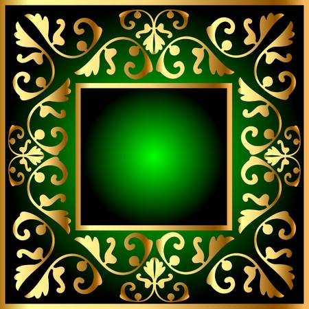 illustration gold(en) square frame with vegetable pattern Vector