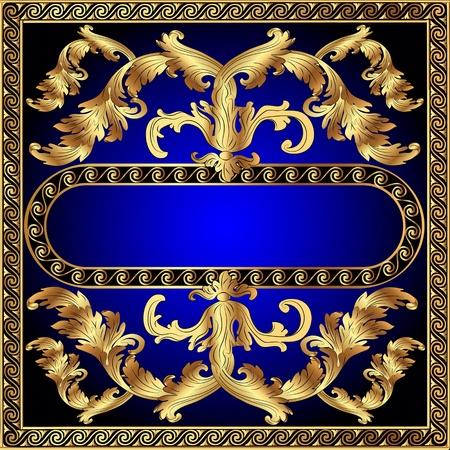 barok ornament: illustratie goud (nl) frame met groenten en doorbreken door het patroon