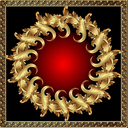 illustration gold(en) frame with vegetable and spiral by pattern Vector