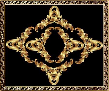 illustration gold(en) frame with vegetable and spiral by pattern Vector