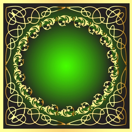 illustration gold(en) frame with pattern on circle Vector