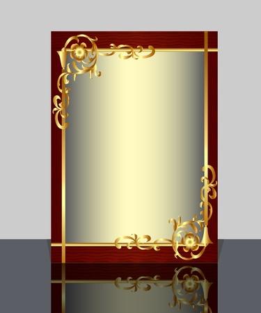 gilt:  illustration frame with gold(en) pattern and reflection Illustration
