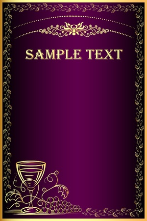 product background:  illustration background with gold(en) grape and goblet for menu