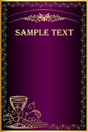 goblet:  illustration background with gold(en) grape and goblet for menu