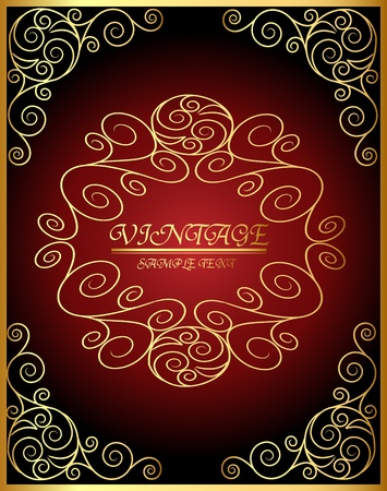 illustration vintage gold frame on brown background Vector