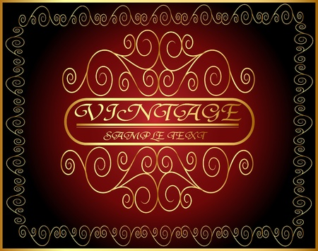 illustration horizontal vintage label with spiral gold(en) pattern Vector
