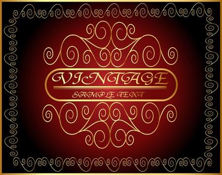 corona navidad: ilustración de la vendimia con la etiqueta horizontal espiral de oro (es) modelo