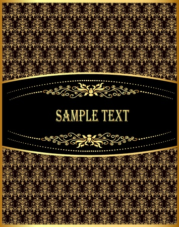 aristocrat: illustration vertical vintage label with spiral gold(en) pattern