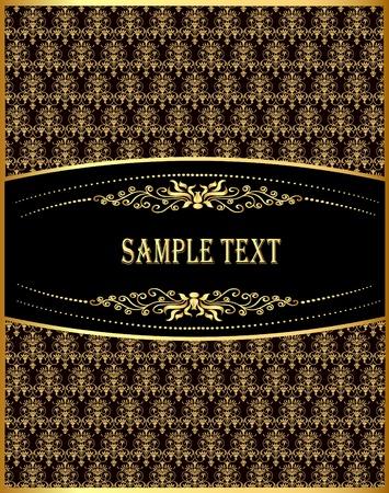 illustration vertical vintage label with spiral gold(en) pattern