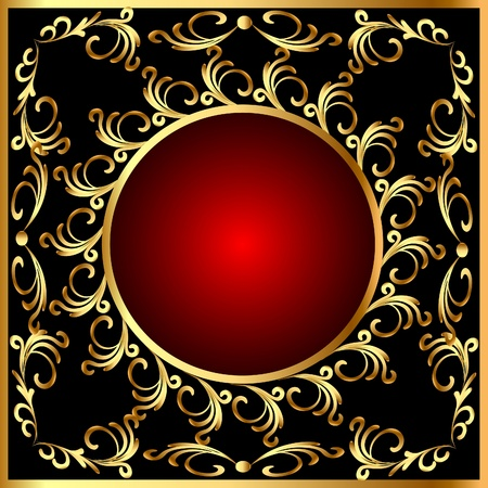 illustration  vintage round  frame with vegetable gold(en) pattern Vector