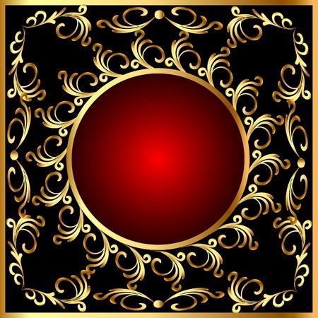 illustration  vintage round  frame with vegetable gold(en) pattern