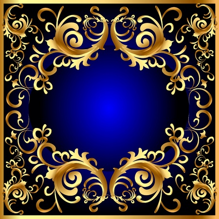 luxurious: illustration vintage blue frame with vegetable gold(en) pattern