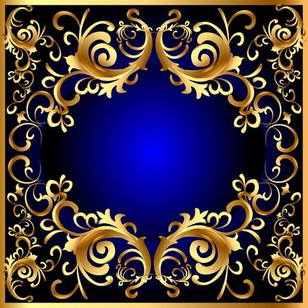 luxurious background: illustration vintage blue frame with vegetable gold(en) pattern