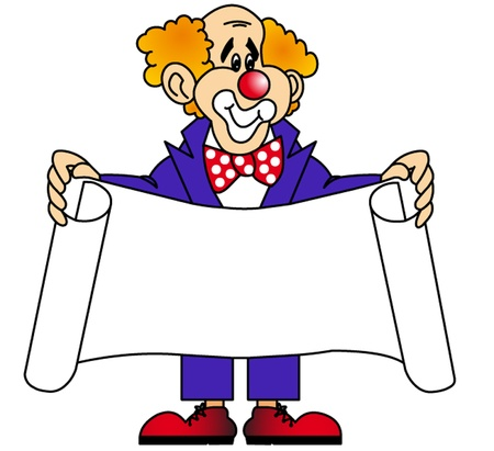 keeps: the merry clown keeps the paper sheet.