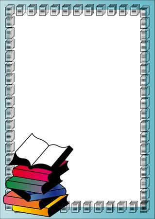 leerboek: illustratie stapel boeken met open boek boven Stock Illustratie