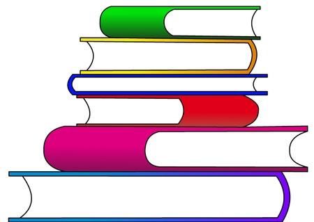 Der Rahmen Mit Stapel Der Bücher Mit Offenen Buch Im Obergeschoss ...