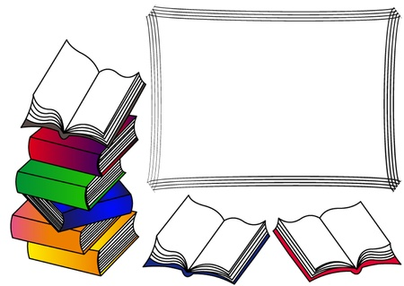 stapel papieren: het frame met stapel van de boeken met open boek naar boven.