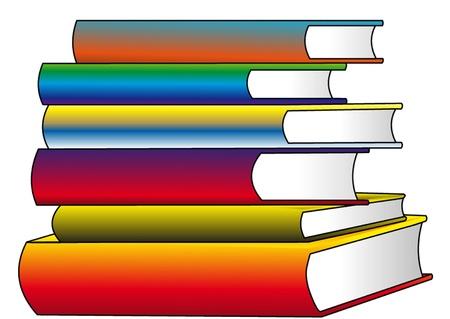pile papier: la pile des livres de couleur, isol� sur blanc.
