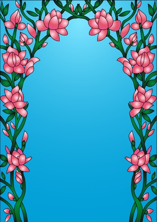 illustration frame background with flowering flower  Vector