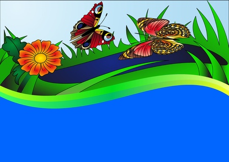 pour water: illustration background with butterfly flower and water