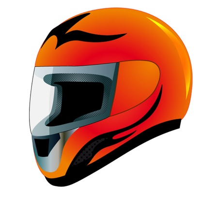 sports helmet: illustration send racing red insulated on white background