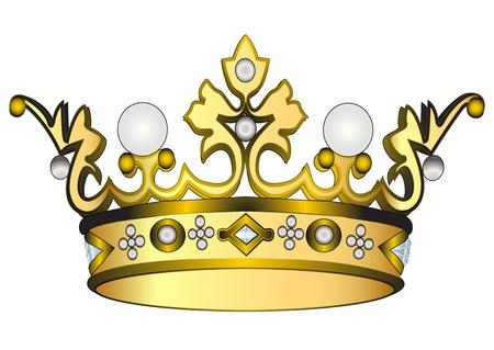 koninklijke kroon: illustratie gouden koninklijke kroon geïsoleerd op een witte achtergrond