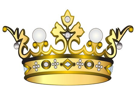 corona real: ilustración de oro corona real aislados sobre fondo blanco Vectores