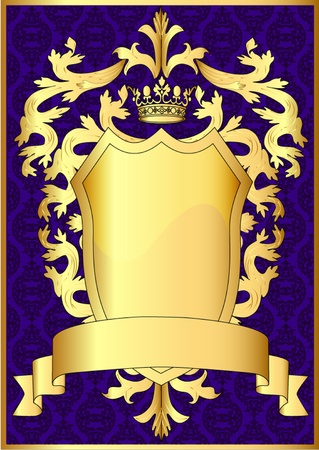 illustration shield and gold royal crown with pattern and tape  Vector