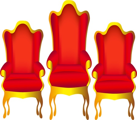 illustration three chairs for chief red insulated on white Stock Vector - 11125878