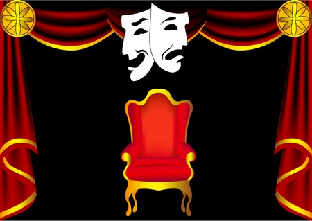 illustration scene theater with curtain by chair and mask
