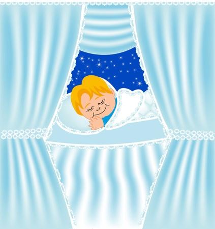 dormir habitaci�n: buena ilustraci�n infantil duerme en la almohada de la cortina