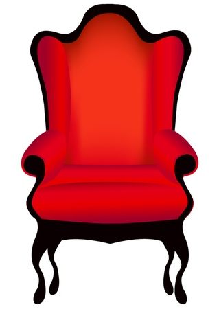 antique chair: illustration classical chair red insulated on white