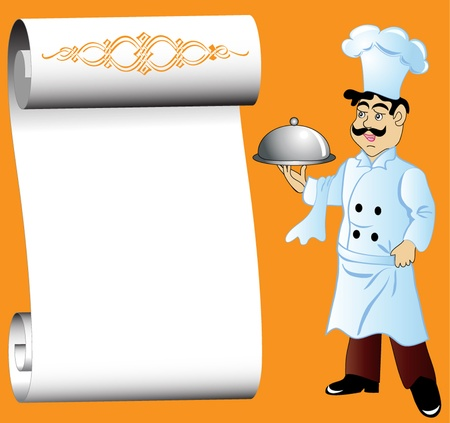paper hats: illustration cook with dishes in hand and paper for menu