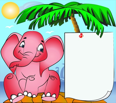 pinning: illustration rose elephant on island and paper pinning on palm