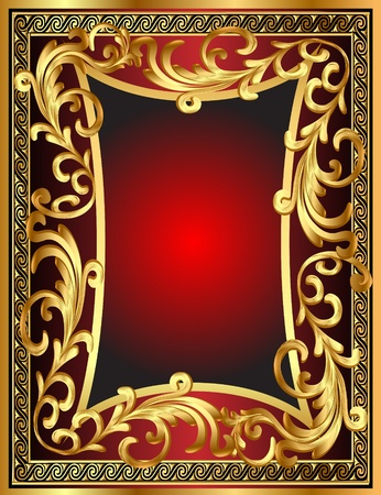 gold frame: illustration background frame with vegetable gold(en) pattern