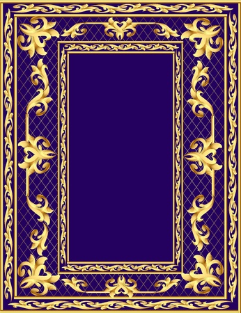 illustration background frame with vegetable gold(en) pattern
