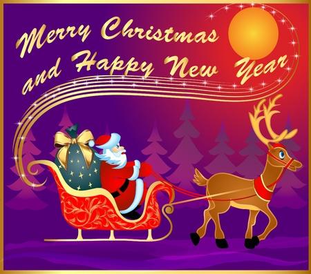 papa noel en trineo: ilustración festiva postal con trineos tirados por ciervos y Santa