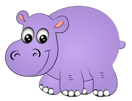cartoon hippo: illustration rhinoceros hippopotamus one insulated on white Illustration
