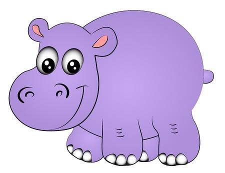 hippopotamus: ilustraci�n de rinoceronte hipop�tamo uno de ellos aislado en blanco Vectores