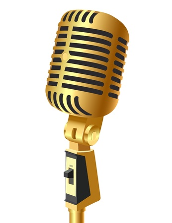 vintage mic: illustration gold(en) mike insulated on white background