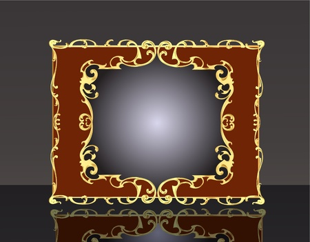 aristocratic: illustration decorative background frame with gold(en) pattern with reflection