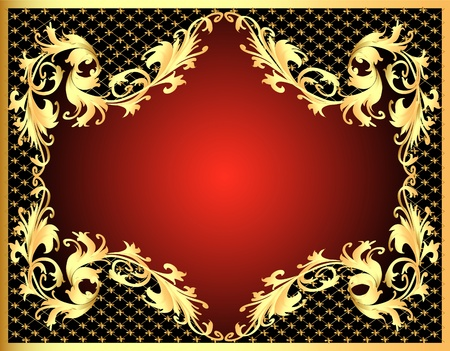illustration decorative background frame with gold(en) pattern with net Vector