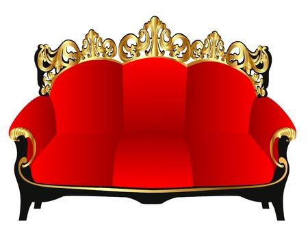 red sofa:  illustration  retro sofa red with gold(en) pattern Illustration